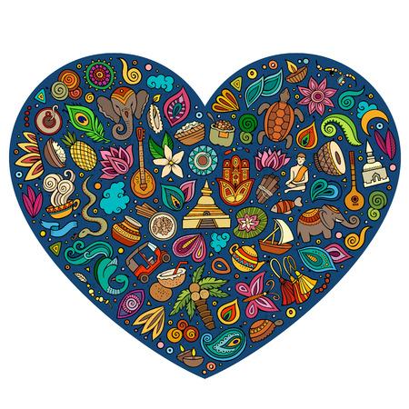 다채로운 벡터 손으로 그린 만화 만화 낙서 개체, 기호 및 항목 집합. 심장 형태의 조성 일러스트