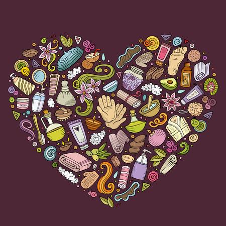 Kleurrijke vector hand getrokken reeks voorwerpen van de het beeldverhaalkrabbel van de Massagesalon, symbolen en punten. Samenstelling van het hart Stock Illustratie