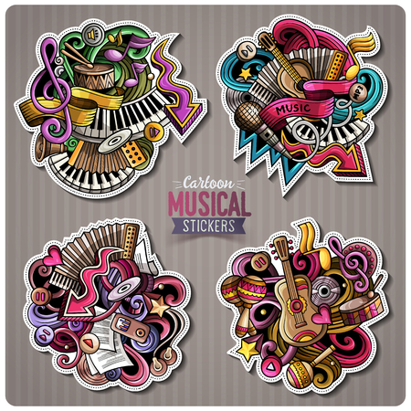 Set of Music cartoon stickers. Vector doodle objects and symbols collection. Label design elements. Cute patches, pins, badges series. Comic style.