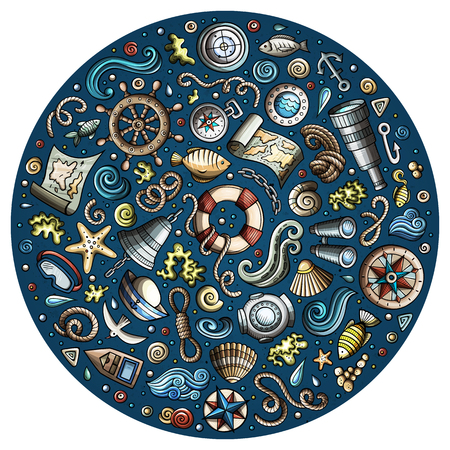Colorful vector hand drawn set of Marine, Nautical cartoon doodle objects, symbols and items. Round form composition Иллюстрация