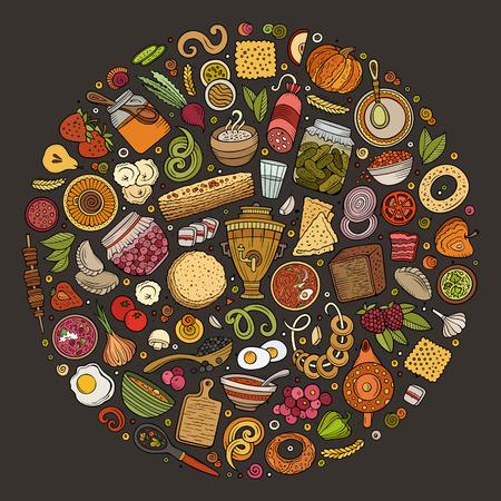 Colorido vector dibujado a mano conjunto de comida rusa dibujos animados doodle objetos, símbolos y elementos. Composición redonda Vectores