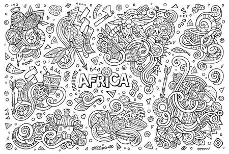 Vector conjunto de dibujos animados del doodle de diseños de África Foto de archivo - 80501612