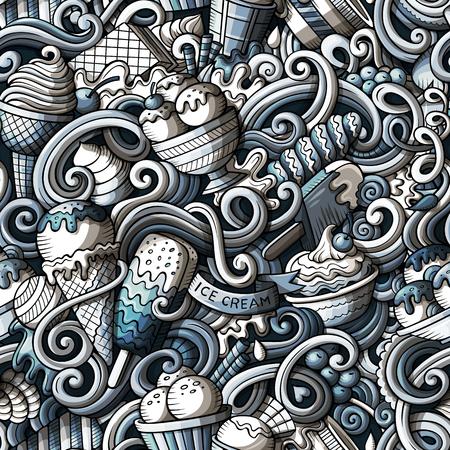 Crème glacée de dessinés à la main dessin animé doodles modèle sans couture. Momochrome détaillé, avec beaucoup d'objets vectoriels fond Banque d'images - 80499191