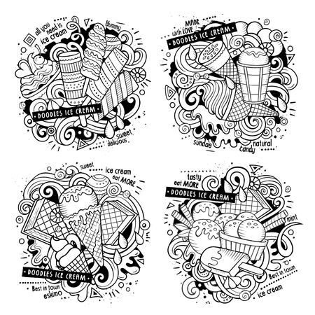 Ice cream cartoon vector doodle illustration. Line art detailed designs with lot of objects and symbols. 4 composition set. All elements separate Illustration