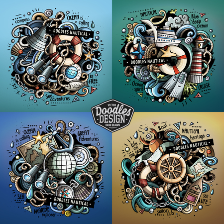 Nautical cartoon vector doodle illustrations Illustration