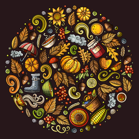 Autumn cartoon doodle objects, symbols and items Illustration