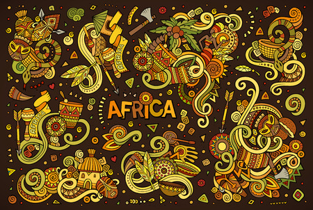 Vector doodle cartoon set of Africa designs