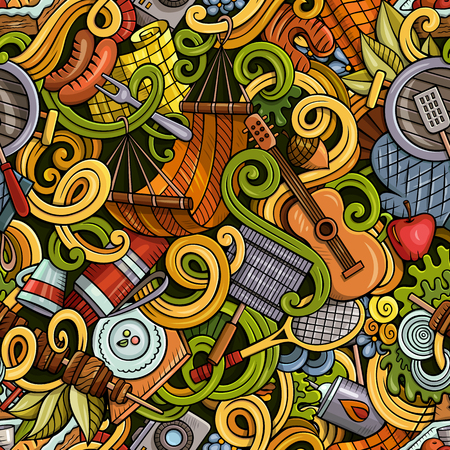 Cartoon hand-drawn picnic doodles seamless pattern Иллюстрация