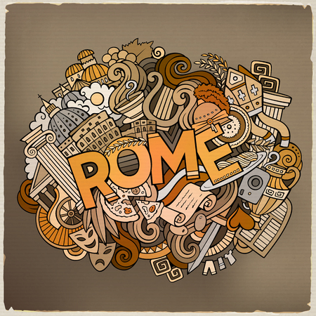 Cartoon cute doodles hand drawn Rome inscription Illustration