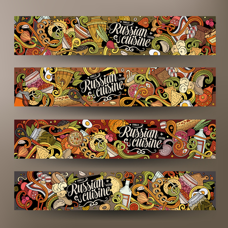 Cartoon vector doodles Russisch eten 2 horizontale banners