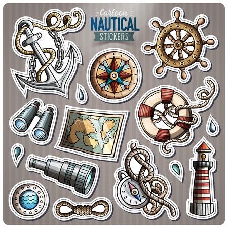 paddle wheel: Set of Nautical vector cartoon stickers