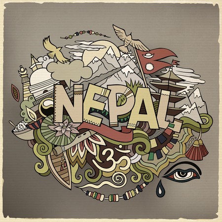 Nepal country hand lettering and doodles elements Çizim