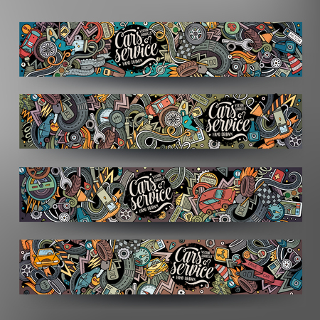 Cartoon vector hand drawn doodles Aautomobile horizontal banners