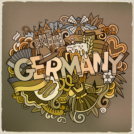 germanic: Cartoon cute doodles Germany illustration