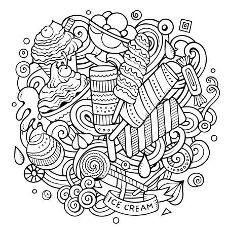 Cartoon griffonnages dessinés à la main crème glacée illustration Banque d'images - 80501662
