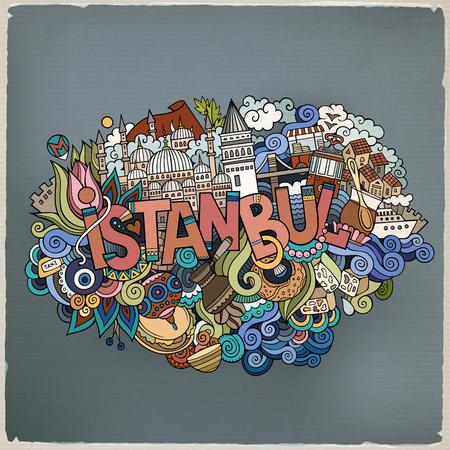Istanbul stad hand belettering en doodles elementen en symbolen achtergrond. Vector hand getrokken illustratie Stock Illustratie