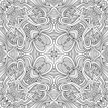 Abstract vector decorative ethnic hand drawn sketchy contour seamless pattern Stock Vector - 80501665