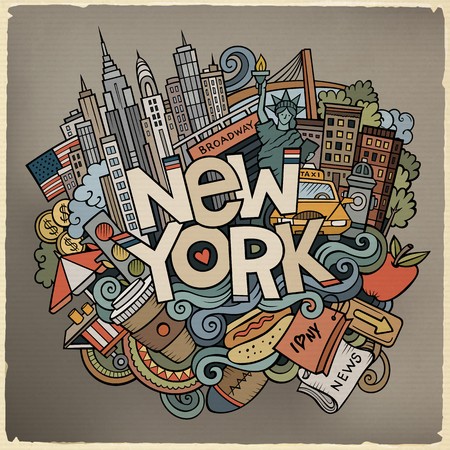 Cartoon cute doodles hand drawn New York inscription