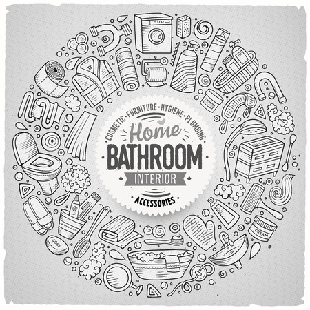 Vector set of Bathroom cartoon doodle objects
