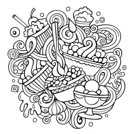 Cartoon handgetekende doodles Ijs illustratie Stock Illustratie