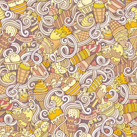 Cartoon hand-drawn ice cream doodles seamless pattern