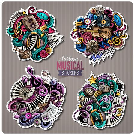 Set of vector Music cartoon stickers