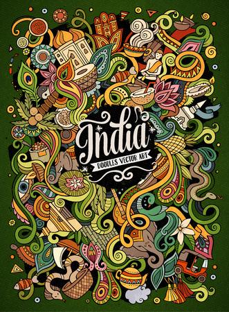 Desenhos animados doodles bonito desenhado mão ilustração da Índia Foto de archivo - 80640104