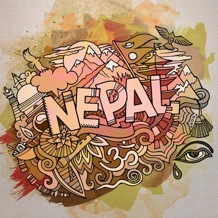 네팔 비문 손으로 그린 귀여운 낙서 만화 일러스트