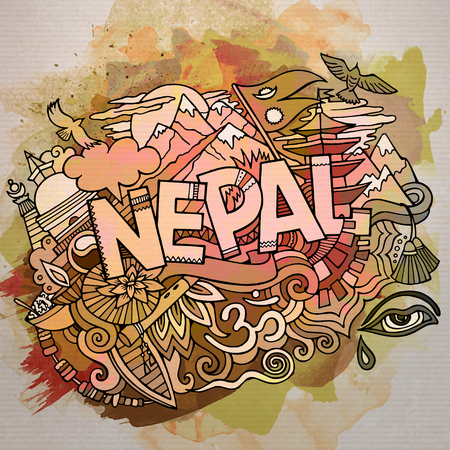 Cartoon cute doodles hand drawn Nepal inscription 向量圖像