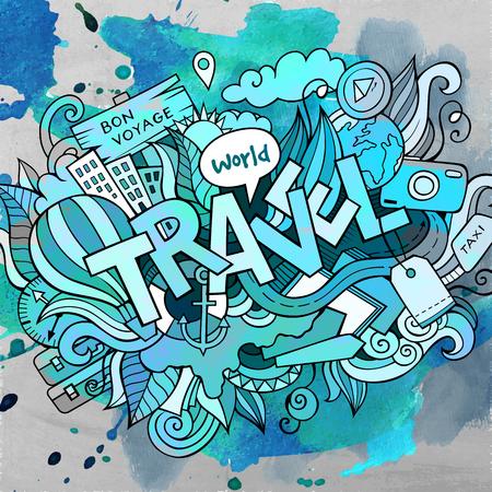 Cartoon cute doodles hand drawn Travel inscription Illustration