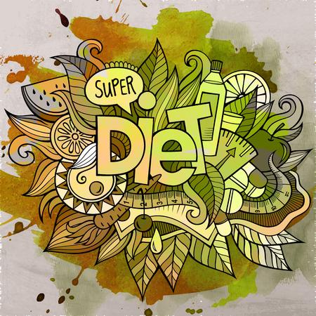 Cartoon cute doodles hand drawn Diet inscription Illustration