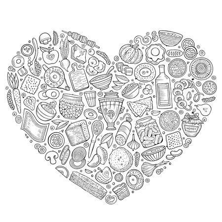Ensemble de vecteur de bande dessinée de nourriture de nourriture doodle russe Banque d'images - 80641715