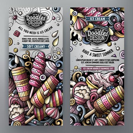 Cartoon vector doodles ice cream banners