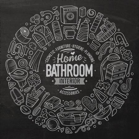벡터 욕실 만화 낙서 개체의 집합입니다.