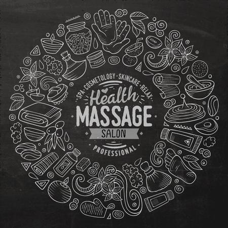 Vector set of Massage cartoon doodle objects Illustration