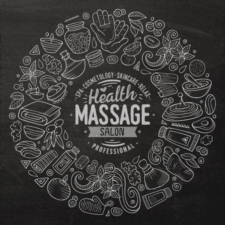 Vector set of Massage cartoon doodle objects Stock Illustratie