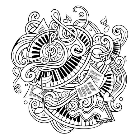 かわいい落書き音楽イラストを漫画します。 写真素材