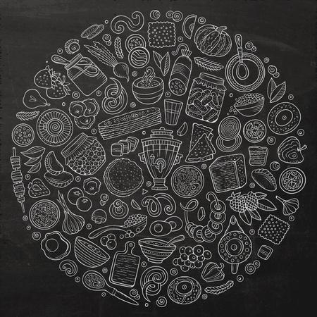 Vector set van Russische voedsel cartoon doodle objecten Stockfoto