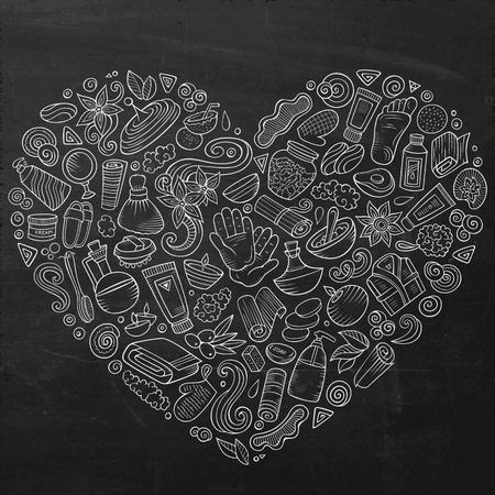 bougie coeur: Ensemble vectoriel d'objets de doodle de salon de massage Banque d'images