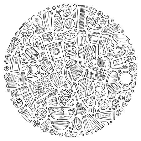 A Vector hand drawn set of Bathroom cartoon doodle objects. Stok Fotoğraf - 81444753