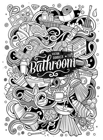 Cartoon schattige krabbels Badkamer illustratie Stock Illustratie