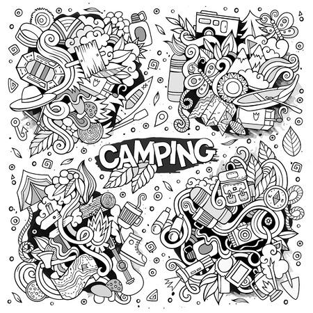 Camping nature symbols and objects Illusztráció