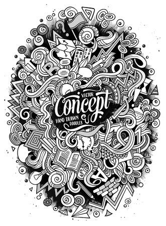 漫画かわいい落書き手描き下ろしのアイデア イラスト  イラスト・ベクター素材