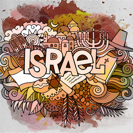 Cartoon cute doodles hand drawn Israel inscription Ilustração