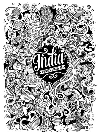 Cartoon cute doodles hand drawn India illustration