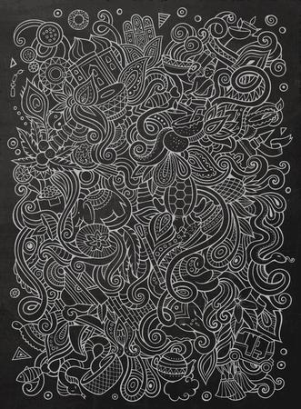 만화 귀여운 낙서 손으로 그려진 된 인도 그림