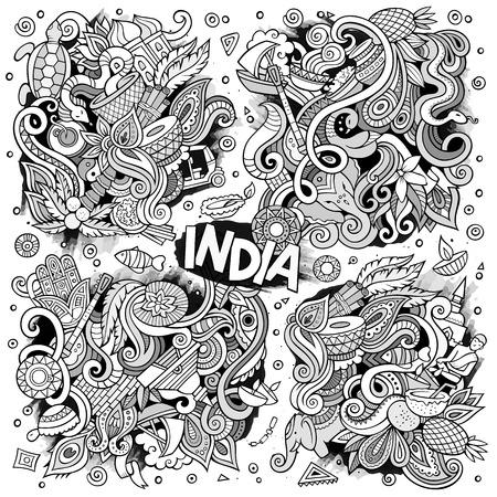 Doodle cartoon set of Indian designs 向量圖像