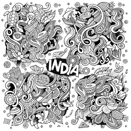 Doodle cartoon set of Indian designs Illustration