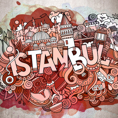 Cartoon cute doodles hand drawn Istanbul inscription