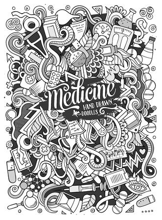 Cartoon cute doodles hand drawn Medical illustration Illusztráció